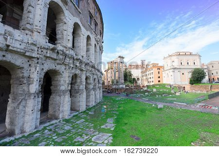 ruins of teatro Marcelo in Rome Italy