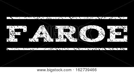 Faroe watermark stamp. Text tag between horizontal parallel lines with grunge design style. Rubber seal stamp with unclean texture. Vector white color ink imprint on a black background.