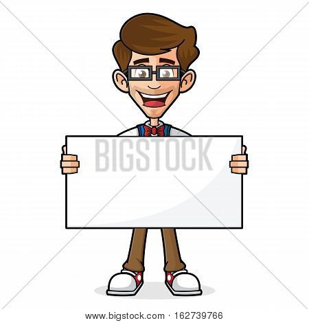 Nerd Guy Holding Blank Sign Isolated in White Background