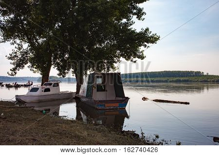 Fishing Boats Anchored On Danube River