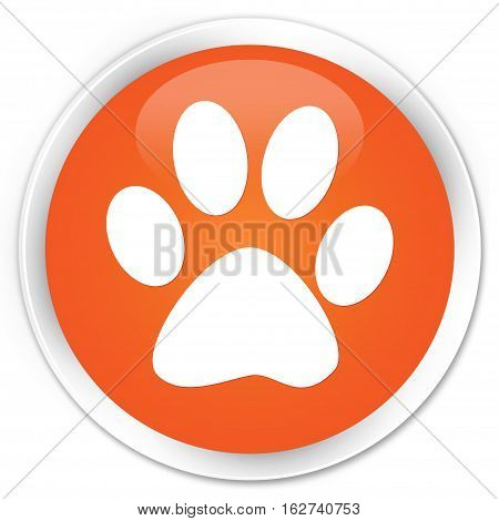 Animal Footprint Icon Premium Orange Round Button