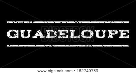 Guadeloupe watermark stamp. Text caption between horizontal parallel lines with grunge design style. Rubber seal stamp with dust texture. Vector white color ink imprint on a black background.