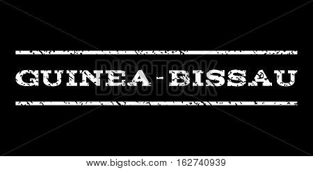 Guinea-Bissau watermark stamp. Text tag between horizontal parallel lines with grunge design style. Rubber seal stamp with dirty texture. Vector white color ink imprint on a black background.