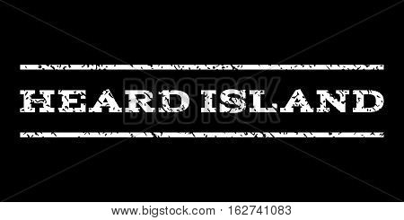 Heard Island watermark stamp. Text caption between horizontal parallel lines with grunge design style. Rubber seal stamp with dirty texture. Vector white color ink imprint on a black background.
