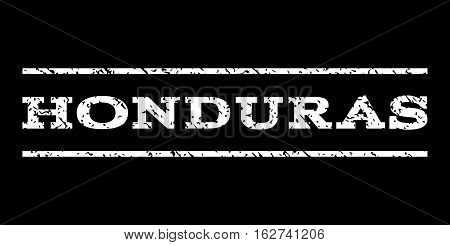 Honduras watermark stamp. Text caption between horizontal parallel lines with grunge design style. Rubber seal stamp with dirty texture. Vector white color ink imprint on a black background.