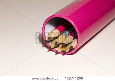 Colorful Pencils Isolated On White Background In Pen Case. Close Up.