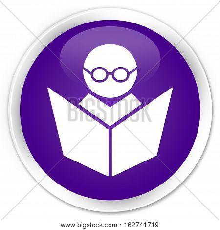 Elearning Icon Premium Purple Round Button