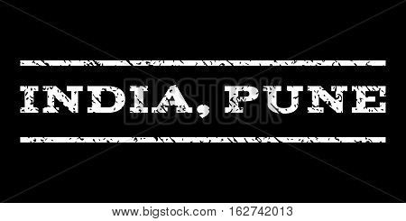 India, Pune watermark stamp. Text tag between horizontal parallel lines with grunge design style. Rubber seal stamp with dust texture. Vector white color ink imprint on a black background.