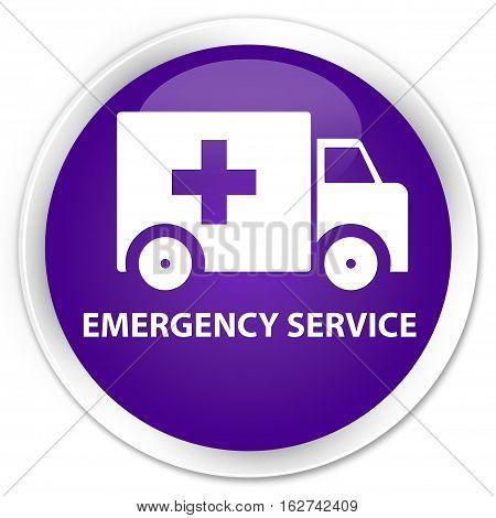 Emergency Service Premium Purple Round Button