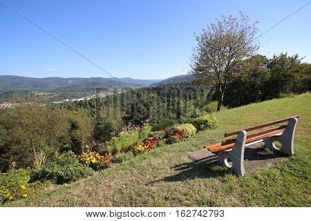 Bench Providing An Outlook Over The City Of Gaggenau, Baden-wurttemberg, Germany