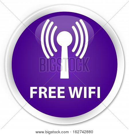 Free Wifi (wlan Network) Premium Purple Round Button