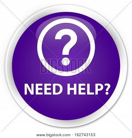 Need Help (question Icon) Premium Purple Round Button