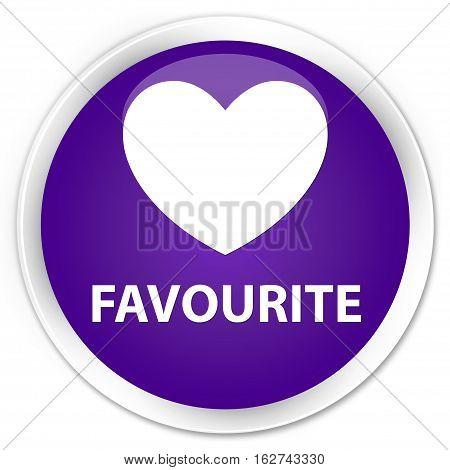 Favourite (heart Icon) Premium Purple Round Button