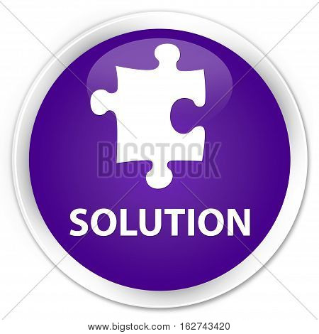 Solution (puzzle Icon) Premium Purple Round Button