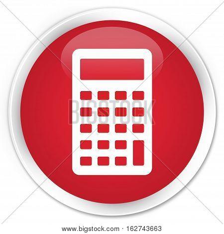 Calculator Icon Premium Red Round Button
