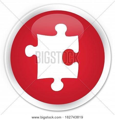 Puzzle Icon Premium Red Round Button