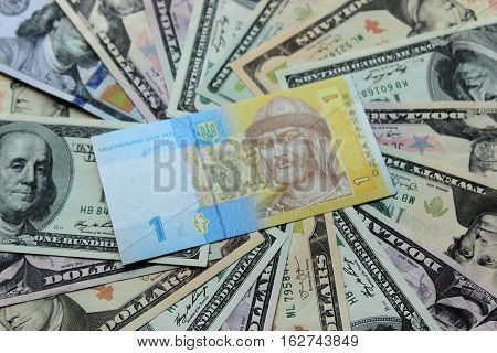 Ukrainian hryvnia and dollar bills. Money background