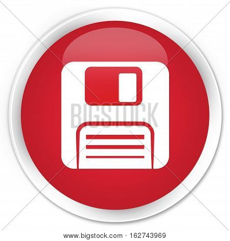Floppy Disk Icon Premium Red Round Button