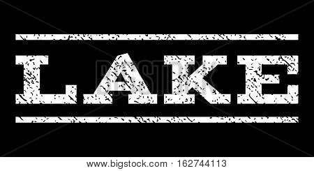 Lake watermark stamp. Text tag between horizontal parallel lines with grunge design style. Rubber seal stamp with unclean texture. Vector white color ink imprint on a black background.