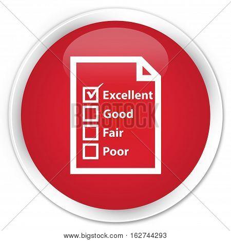Questionnaire Icon Premium Red Round Button