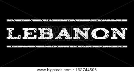 Lebanon watermark stamp. Text tag between horizontal parallel lines with grunge design style. Rubber seal stamp with scratched texture. Vector white color ink imprint on a black background.