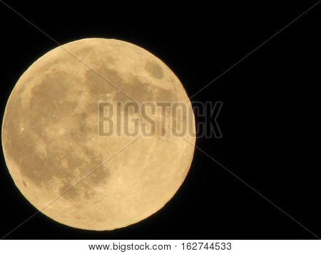 Yellow Full Moon On The Dark Night, Lunar On Dark Night Sky