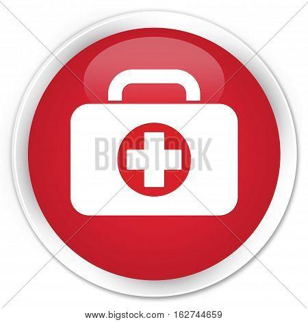 First Aid Kit Bag Icon Premium Red Round Button