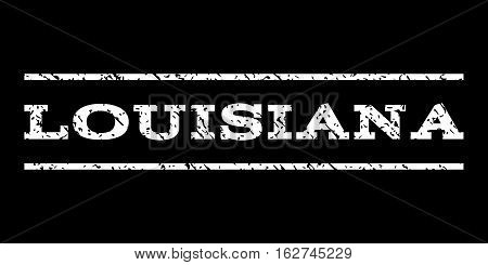 Louisiana watermark stamp. Text caption between horizontal parallel lines with grunge design style. Rubber seal stamp with dust texture. Vector white color ink imprint on a black background.