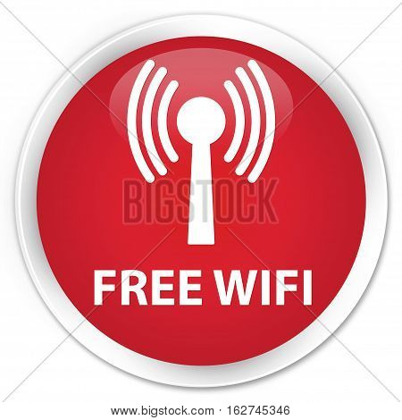 Free Wifi (wlan Network) Premium Red Round Button