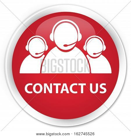 Contact Us (customer Care Team Icon) Premium Red Round Button