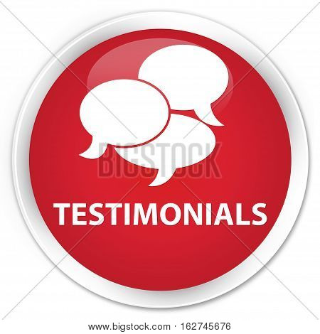 Testimonials (comments Icon) Premium Red Round Button