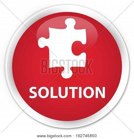 Solution (puzzle Icon) Premium Red Round Button