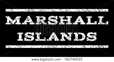 Marshall Islands watermark stamp. Text tag between horizontal parallel lines with grunge design style. Rubber seal stamp with dust texture. Vector white color ink imprint on a black background.