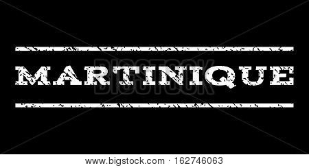 Martinique watermark stamp. Text tag between horizontal parallel lines with grunge design style. Rubber seal stamp with dust texture. Vector white color ink imprint on a black background.