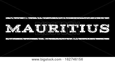 Mauritius watermark stamp. Text tag between horizontal parallel lines with grunge design style. Rubber seal stamp with unclean texture. Vector white color ink imprint on a black background.