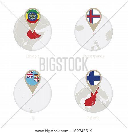 Ethiopia, Faroe Islands, Fiji, Finland Map And Flag In Circle.