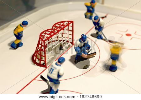 the hockey table game goalie macro shot