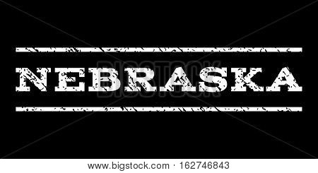 Nebraska watermark stamp. Text tag between horizontal parallel lines with grunge design style. Rubber seal stamp with unclean texture. Vector white color ink imprint on a black background.