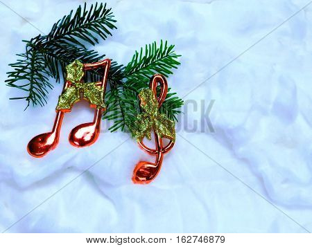 musical notes on a twig spruce Christmas spruce