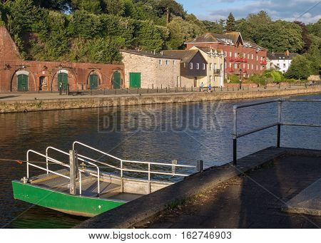 cellars and houses on Exeter Quay. Pier. Exe river. Devon. UK