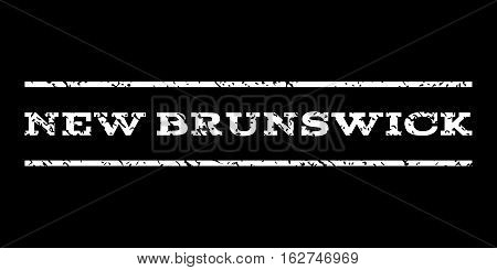 New Brunswick watermark stamp. Text tag between horizontal parallel lines with grunge design style. Rubber seal stamp with dirty texture. Vector white color ink imprint on a black background.