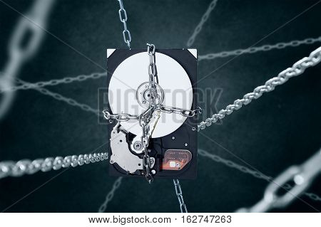 Imprisoned hard disc drive Concept of data losing