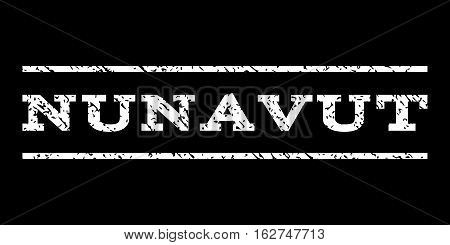 Nunavut watermark stamp. Text tag between horizontal parallel lines with grunge design style. Rubber seal stamp with scratched texture. Vector white color ink imprint on a black background.