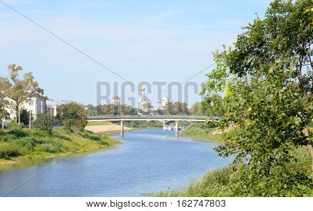 Vologda River in Vologda City at sunny summer day Russia.