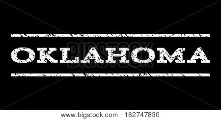 Oklahoma watermark stamp. Text caption between horizontal parallel lines with grunge design style. Rubber seal stamp with dust texture. Vector white color ink imprint on a black background.