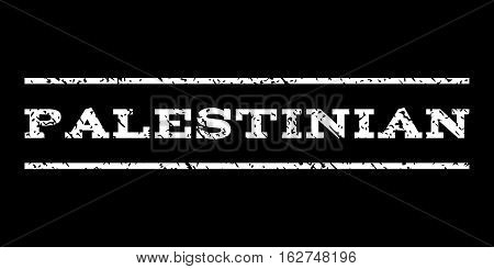 Palestinian watermark stamp. Text caption between horizontal parallel lines with grunge design style. Rubber seal stamp with scratched texture. Vector white color ink imprint on a black background.