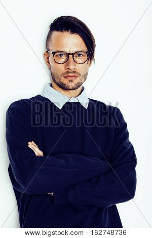 handsome middle age hipster man with modern hairstyle and tattoo, beard, close up on white background, lifestyle people concept
