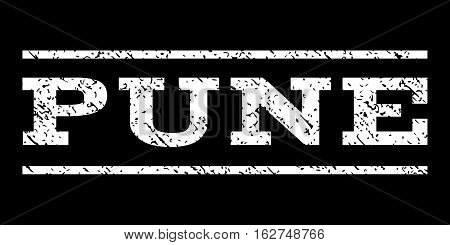 Pune watermark stamp. Text tag between horizontal parallel lines with grunge design style. Rubber seal stamp with scratched texture. Vector white color ink imprint on a black background.