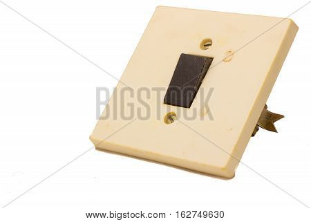 one-button switch isolated on white background control the switching on and off of lighting in the room