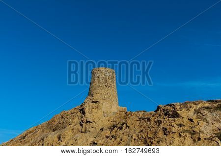 Genoese tower in Ile Rousse Corse France.